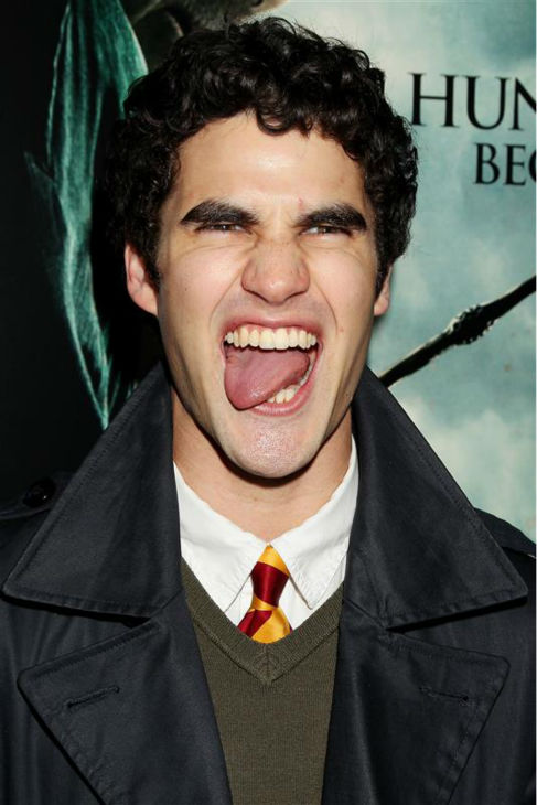 "<div class=""meta image-caption""><div class=""origin-logo origin-image ""><span></span></div><span class=""caption-text"">Here's a closer look at Darren Criss' rock n' roll face, at the 'Harry Potter and the Deathly Hallows - Part 1' premiere in New York on Nov. 11, 2010. (Dave Alloca / Startraksphoto.com)</span></div>"