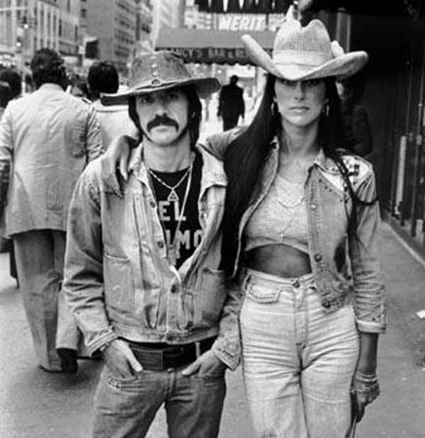 Cher and Sonny Bono pose in a 1960s promotional photograph