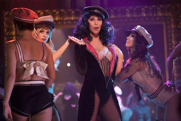 Cher performing on the set of 'Burlesque'