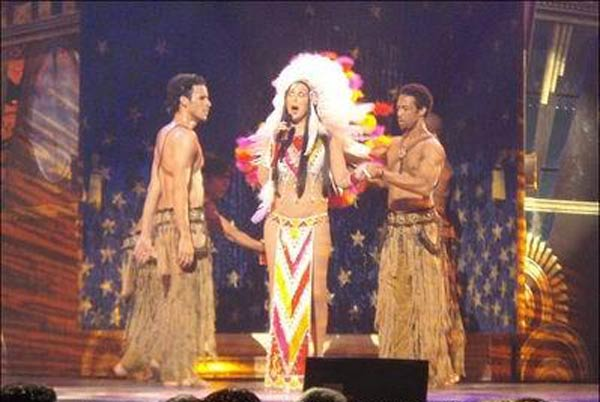 "<div class=""meta ""><span class=""caption-text "">While starring in 'The Sonny and Cher Comedy Hour,' Cher had three No. 1 hits including 'Gypsys, Tramps & Thieves,' 'Dark Lady' and 'Half-Breed,' which she is seen performing above in her Vegas show at Caesar's Palace. Cher's mosther was reportedly part Cherokee, since one of her great-great-grandparents is supposedly Cherokee and her father was Armenian. (MySpace)</span></div>"