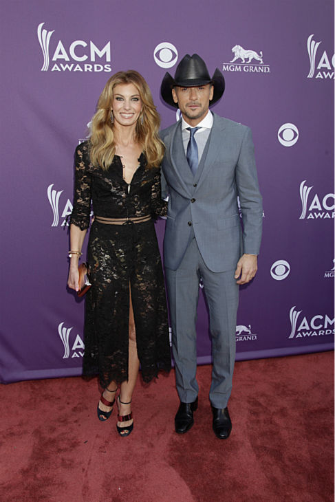 Tim McGraw and Faith Hill appear on the red carpet at the 48th annual Academy of Country Music &#40;ACM&#41; Awards. The ceremony was co-hosted by Luke Bryan and Blake Shelton and was broadcast live from the MGM Grand Garden Arena in Las Vegas on CBS on Sunday, April 7, 2013. <span class=meta>(Francis Specker &#47; CBS)</span>