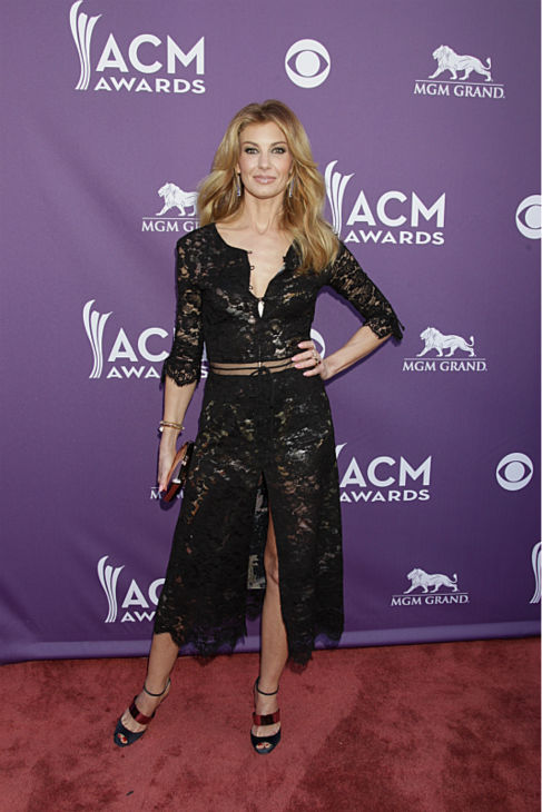 Faith Hill appears on the red carpet at the 48th annual Academy of Country Music &#40;ACM&#41; Awards. The ceremony was co-hosted by Luke Bryan and Blake Shelton and was broadcast live from the MGM Grand Garden Arena in Las Vegas on CBS on Sunday, April 7, 2013. <span class=meta>(Francis Specker &#47; CBS)</span>