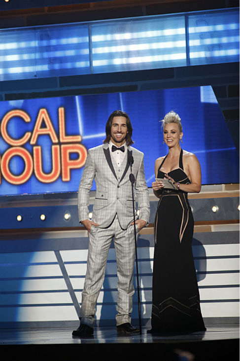 Kaley Cuoco and Jack Owen present at the 48th annual Academy of Country Music &#40;ACM&#41; Awards. The ceremony was co-hosted by Luke Bryan and Blake Shelton and was broadcast live from the MGM Grand Garden Arena in Las Vegas on CBS on Sunday, April 7, 2013. <span class=meta>(Adrian Sanchez-Gonzalez &#47; CBS)</span>