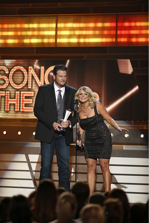 Blake Shelton and Miranda Lambert win Song of the Year at the 48th annual Academy of Country Music &#40;ACM&#41; Awards. The ceremony was co-hosted by Luke Bryan and Blake Shelton and was broadcast live from the MGM Grand Garden Arena in Las Vegas on CBS on Sunday, April 7, 2013. <span class=meta>(Adrian Sanchez-Gonzalez &#47; CBS)</span>