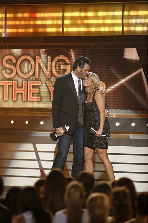 Winners Miranda Lambert and husband Blake Shelton win Song of the Year at the 48th annual Academy of Country Music &#40;ACM&#41; Awards. The ceremony was co-hosted by Shelton and Luke Bryan and was broadcast live from the MGM Grand Garden Arena in Las Vegas on CBS on Sunday, April 7, 2013. <span class=meta>(Adrian Sanchez-Gonzalez &#47; CBS)</span>