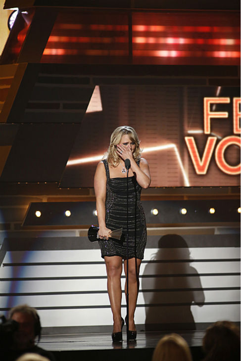 Miranda Lambert gets emotional after being named Female Vocalist of the Year at the 48th annual Academy of Country Music &#40;ACM&#41; Awards. The ceremony was co-hosted by Luke Bryan and Blake Shelton and was broadcast live from the MGM Grand Garden Arena in Las Vegas on CBS on Sunday, April 7, 2013. &#40;WATCH a video of her acceptance speech.&#41; <span class=meta>(Adrian Sanchez-Gonzalez &#47; CBS)</span>