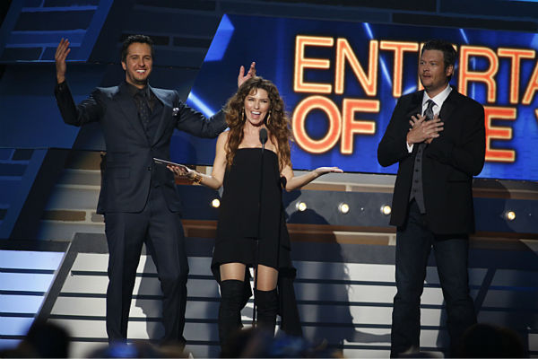 Luke Bryan, Shania Twain, and Blake Shelton appear on stage at the 48th annual Academy of Country Music &#40;ACM&#41; Awards. The ceremony was co-hosted by Luke Bryan and Blake Shelton and was broadcast live from the MGM Grand Garden Arena in Las Vegas on CBS on Sunday, April 7, 2013. <span class=meta>(Adrian Sanchez-Gonzalez &#47; CBS)</span>