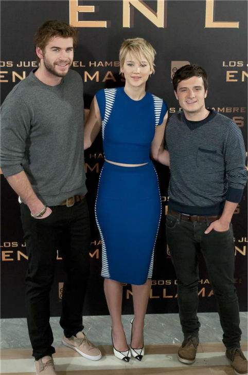 Liam Hemsworth, Jennifer Lawrence and Josh Hutcherson appear at a press conference for &#39;The Hunger Games: Catching Fire&#39; in Madrid, Spain on Nov. 13, 2013. <span class=meta>(Picasso Fernandez-Marcote &#47; Startraksphoto.com)</span>