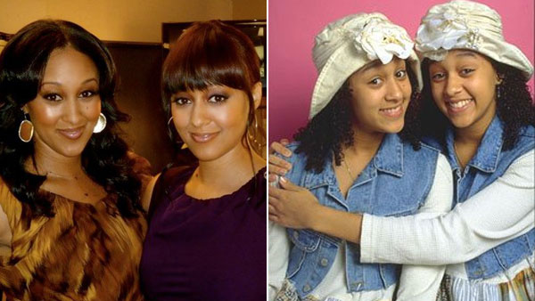 Left: Tamera and Tia Mowry in a June 24, 2010 photo from Tamera's official Twitter pages. (Twitter) Right: Tamera (image left) and Tia (image right) Mowry in a production still from the 1990s sitcom 'Sister, Sister.'