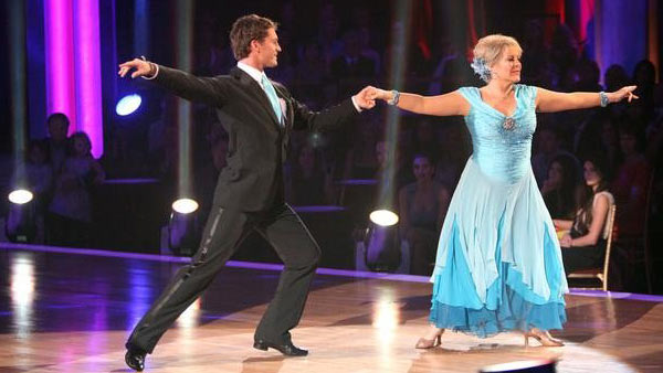Television host Nancy Grace and her partner Tristan Macmanus received 21 out of 30 from the judges for their Waltz on the October 3 episode of 'Dancing With The Stars.'