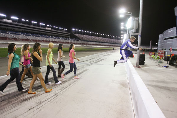 "<div class=""meta image-caption""><div class=""origin-logo origin-image ""><span></span></div><span class=""caption-text"">Brad feels the need for some speed and takes eight lucky ladies out for a true NASCAR experience at the Las Vegas Motor Speedway - the same racetrack where Dale Earnhardt, Jr. and Jeff Gordon will be racing five weeks from now. Brad hopes to ignite some romance on the track, but when he's reminded that Emily has a tragic link to the racing world, the romance is sidetracked. Brad puts everything on hold to comfort Emily, but at the after-party emotions are at an all-time high, as some very jealous women seethe with resentment over his partiality to one woman. Will Brad risk the ire of the other ladies and give the rose to Emily, or will he choose to wave the checkered flag for another bachelorette? The next episode of 'The Bachelor' airs Monday, January 31. (Pictured: Brad Womack Chantal, Lisa M., Jackie, Britt, Marissa, and Alli) (ABC Photo/ Isaac Brekken)</span></div>"