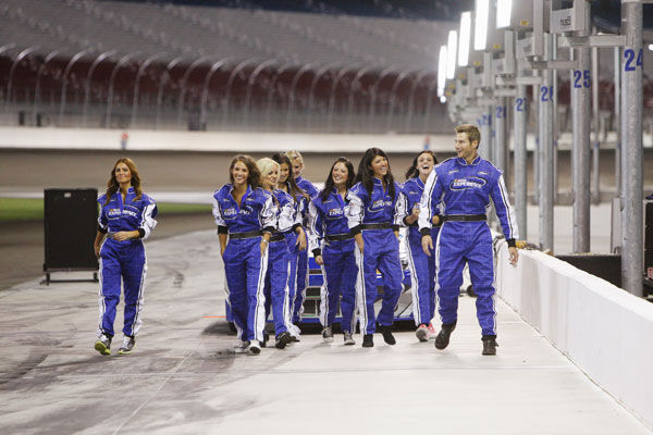Brad feels the need for some speed and takes eight lucky ladies out for a true NASCAR experience at the Las Vegas Motor Speedway - the same racetrack where Dale Earnhardt, Jr. and Jeff Gordon will be racing five weeks from now. Brad hopes to ignite some romance on the track, but when he&#39;s reminded that Emily has a tragic link to the racing world, the romance is sidetracked. Brad puts everything on hold to comfort Emily, but at the after-party emotions are at an all-time high, as some very jealous women seethe with resentment over his partiality to one woman. Will Brad risk the ire of the other ladies and give the rose to Emily, or will he choose to wave the checkered flag for another bachelorette? The next episode of &#39;The Bachelor&#39; airs Monday, January 31. &#40;Pictured: Brad Womack, Lisa M., Michelle, Alli, Marissa, Chantal, Britt, Jackie, Emily&#41; <span class=meta>(ABC Photo&#47; Isaac Brekken)</span>