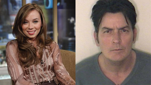 Capri Anderson, the woman who was found locked in Charlie Sheen's hotel bathroom, shown on the set of 'Good Morning America.'/Charlie Sheen's Aspen Colorado Mugshot from Dec. 25, 2009.