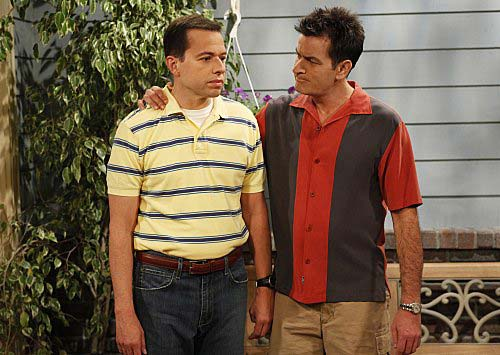 Charlie Sheen and Jon Cryer in a still from their CBS comedy, 'Two and a Half Men.'