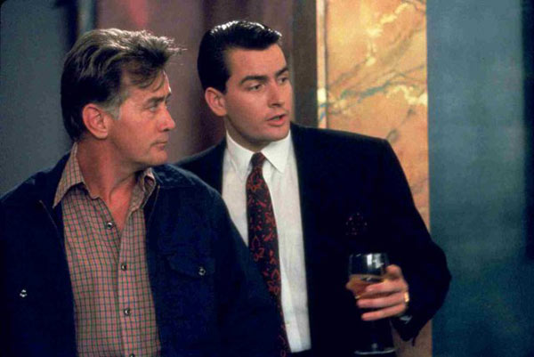 Charlie and Martin Sheen in a still from their 1987 film, 'Wall Street.'