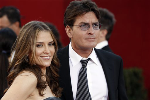 Charlie Sheen arrives with his wife Brooke at the 60th Primetime Emmy Awards in Los Angeles, Sunday, Sept. 21, 2008.