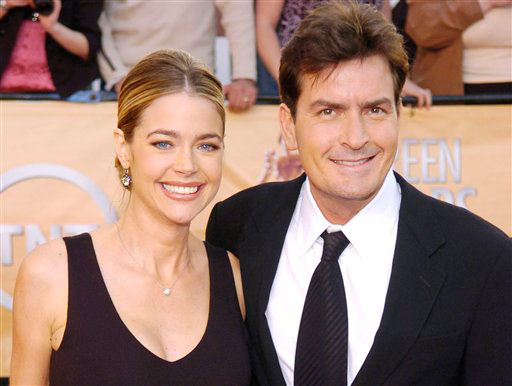 In 2005, a pregnant Denise Richards filed for divorce from Charlie Sheen on the grounds that he had abused drugs and alcohol and threatened her with violence. Richards was Sheen&#39;s second wife and during a bitter custody battle for their two daughters, Richards claimed that Sheen physically and verbally abused her and had threatened to kill her. &#40;Pictured: Charlie Sheen arrives with his wife Denise Richards for the 11th annual Screen Actors Guild Awards in this Feb. 5, 2005, file photo in Los Angeles. Sheen and his ex-wife, Denise Richards, were in Los Angeles family court Tuesday, Jan. 22, 2008.&#41; <span class=meta>(AP Photo&#47;Chris Pizzello)</span>