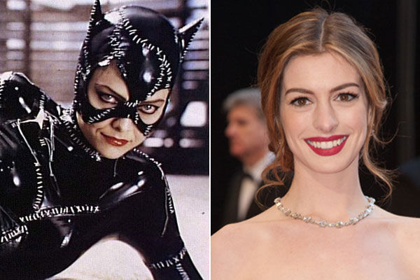 Left: Michelle Pfeiffer as Catwoman in the 1992 film 'Batman Returns.' Right: Anne Hathaway arrives at the 2011 Oscars.