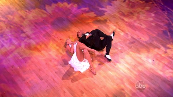 Chelsea Kane and her partner Mark Ballas dancing the foxtrot on the season premiere of Dancing With The Stars.