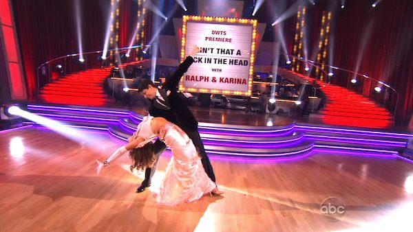 Ralph Macchio and his partner Karina Smirnoff dancing the foxtrot on the season premiere of 'Dancing With The Stars.'