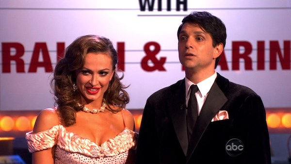 "<div class=""meta ""><span class=""caption-text "">Ralph Macchio and his partner Karina Smirnoff received 24 out of 20 from the judges for their foxtrot on the season premiere of 'Dancing With The Stars.' (ABC)</span></div>"