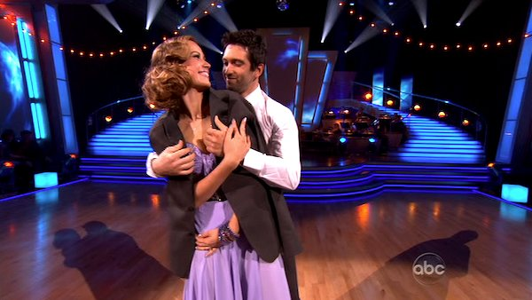 Petra Nemcova and her partner Dmitry Chaplin dancing the foxtrot on the season premiere of &#39;Dancing With The Stars.&#39; <span class=meta>(ABC)</span>