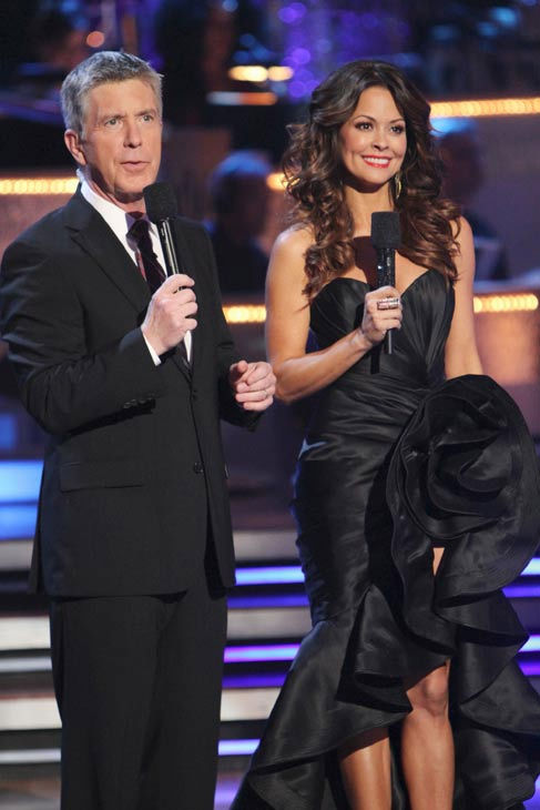 Hosts Tom Bergeron and Brooke Burke appear at the two-hour season premiere of 'Dancing with the Stars,' on March 21, 2011.