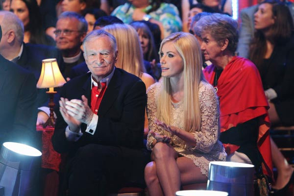 "<div class=""meta ""><span class=""caption-text "">Playboy founder Hugh Hefner and fiancée Crystal Harris appear at the two-hour season premiere of 'Dancing with the Stars,' on March 21, 2011.   (ABC Photo/ Adam Larkey)</span></div>"