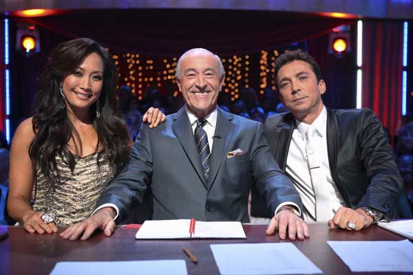 "<div class=""meta ""><span class=""caption-text "">Judges Carrie Ann Inaba, Len Goodman and Bruno Tonioli appear at the two-hour season premiere of 'Dancing with the Stars,' on March 21, 2011.   (ABC Photo/ Adam Larkey)</span></div>"