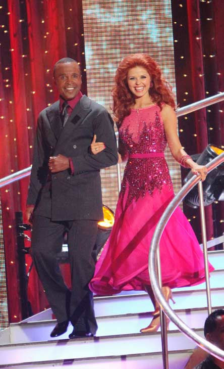 Sugar Ray Leonard and his partner Anna Trebunskaya received 17 out of 30 from the judges for their Foxtro