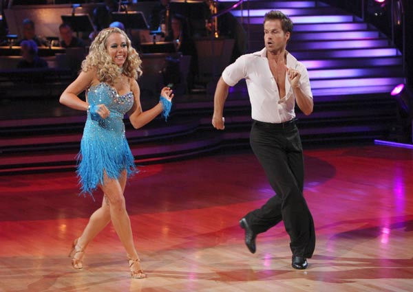 Kendra Wilkinson and her partner Louis van Amstel