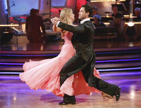 Kirstie Alley and her partner Maksim Chmerkovskiy recieved 20 out of 30 from the judges for their Quickstep on week 2 of 'Dancing With The Stars' on Monday, March 28, 2011. Combined with the fir
