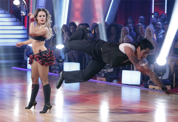 "<div class=""meta ""><span class=""caption-text "">'Psycho' Mike Catherwood and Lacey Schwimmer received 17 out of 30 from the judges for their Jive on week 2 of 'Dancing With The Stars' on Monday, March 28, 2011. Combined with the first week scores of 13 out of 30, their total is 30 out of 60. (ABC Photo/Adam Taylor)</span></div>"