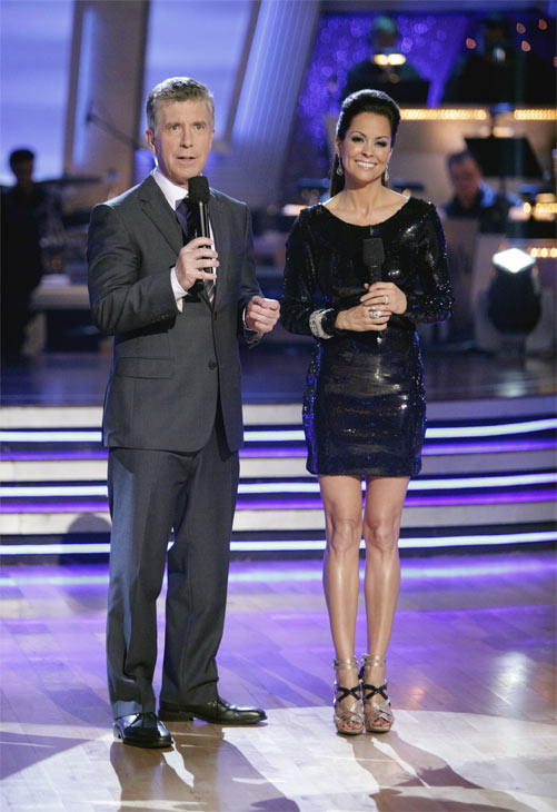 Hosts Tom Bergeron and Brooke Burke appear on...