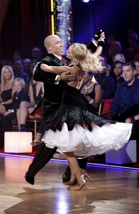 Hines Ward and his partner Kym Johnson received 23 out of 30 from the judges for their Quickstep on week 2 of 'Dancing With The Stars' on Monday, March 28, 2011. Combined with the first week scores of 21 out of 30, their total is 44 out