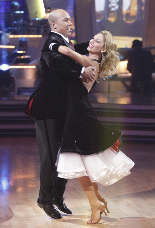 Hines Ward and his partner Kym Johnson received 23 out of 30 from the judges for their Quickstep on week 2 of 'Dancing With The Stars' on Monday, March 28, 2011. Combined with the first week scores of 21 out of 30, their total is 44 out of 60.