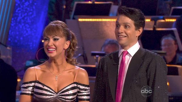 "<div class=""meta ""><span class=""caption-text "">Ralph Macchio and his partner Karina Smirnoff received 21 out of 30 from the judges for their Jive on week 2 of 'Dancing With The Stars' on Monday, March 28, 2011. Combined with the first week scores of 24 out of 30, their total is 45 out of 60. (OTRC Photo)</span></div>"