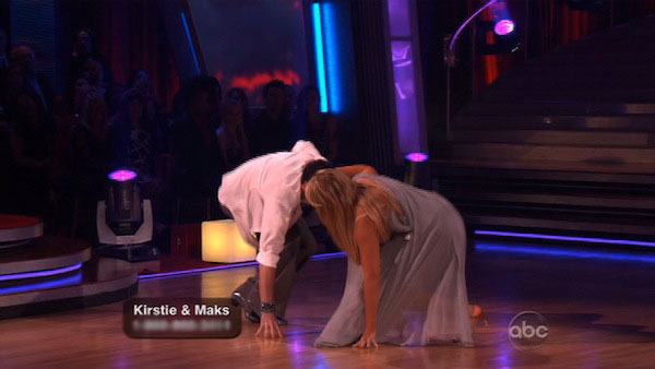 "<div class=""meta ""><span class=""caption-text "">Kirstie Alley and her partner Maksim Chmerkovskiy fell while dancing the Rumba on week three of 'Dancing With The Stars.' The couple eventually received a 21 out of 30 from the judges. (ABC)</span></div>"