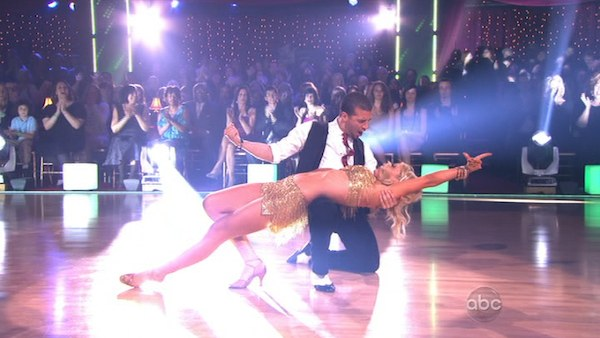 "<div class=""meta image-caption""><div class=""origin-logo origin-image ""><span></span></div><span class=""caption-text"">Chelsea Kane and her partner Mark Ballas received 23 out of 30 from the judges for their Cha cha cha on week three of 'Dancing With The Stars.' (ABC)</span></div>"
