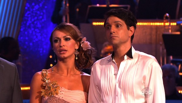 "<div class=""meta ""><span class=""caption-text "">Ralph Macchio and his partner Karina Smirnoff received 21 out of 30 from the judges for their Rumba on week three of 'Dancing With The Stars.' (ABC)</span></div>"