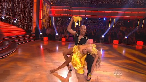 Hines Ward and his partner Kym Johnson received 25 out of 30 from the judges for their Samba on week three of &#39;Dancing With The Stars.&#39; <span class=meta>(ABC&#47;Adam Taylor)</span>