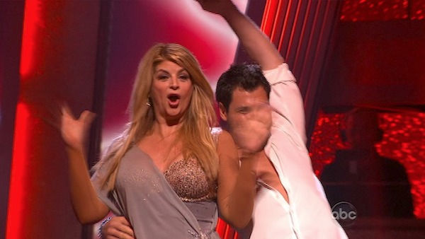 Kirstie Alley and her partner Maksim Chmerkovskiy react to being safe from elimination. The couple received 21 out of 30 from the judges for their Rumba on week three of 'Dancing With The Stars' on Monday, April 4, 2011.