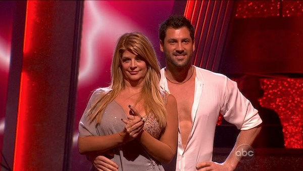 Kirstie Alley and her partner Maksim Chmerkovskiy await possible elimination. The couple received 21 out of 30 from the judges for their Rumba on week three of 'Dancing With The Stars' on Monday, April 4, 2011.