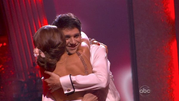 Ralph Macchio and his partner Karina Smirnoff react to being safe from elimination. The couple received 21 out of 30 from the judges for their Rumba on week three of &#39;Dancing With The Stars&#39; on Monday, April 4, 2011.  <span class=meta>(OTRC Photo)</span>