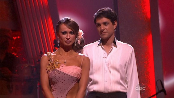 Ralph Macchio and his partner Karina Smirnoff await possible elimination. The couple received