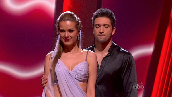 Petra Nemcova and her partner Dmitry Chaplin await possible elimination. The couple received 25 out of 30 from the judges for their Rumba on week three of 'Dancing With The Stars' on Monday, April 4, 2011.