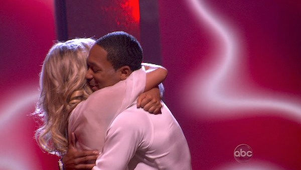 Romeo and his partner Chelsie Hightower react to being safe from elimination. The couple received 20 out of 30 from the judges for their Rumba on week three of 'Dancing With The Stars' on Monday, April 4, 2011.