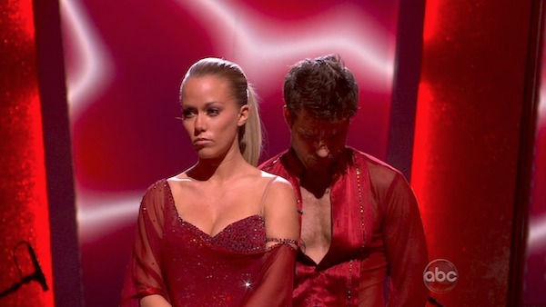 Kendra Wilkinson and her partner Louis van Amstel await possible elimination. The couple received 23 out of 30 from the judges for their Rumba on week three of 'Dancing With The Stars' on Monday, April 4, 2011.