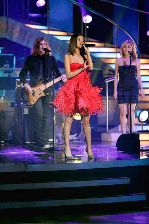 "<div class=""meta ""><span class=""caption-text "">Selena Gomez & The Scene performed their newest single 'Who Says' on 'Dancing With The Stars: The Results Show,' Tuesday, April 5, 2011. Gomez is wearing a design by Irina Shabayeva, a winner of the reality show 'Project Runway.'  (ABC Photo/ Adam Taylor)</span></div>"
