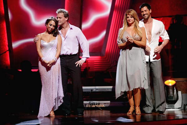 "<div class=""meta ""><span class=""caption-text "">Chris Jericho, Cheryl Burke, Kirstie Alley and her partner Maksim Chmerkovskiy await possible elimination. (ABC Photo/ Adam Taylor)</span></div>"